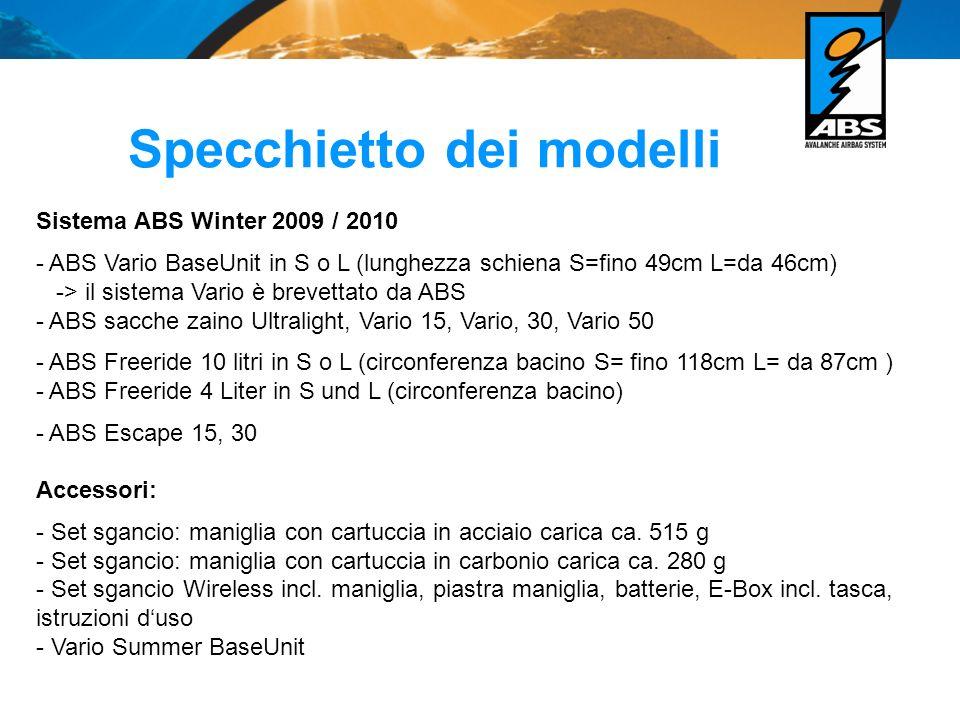 Specchietto dei modelli Sistema ABS Winter 2009 / 2010 - ABS Vario BaseUnit in S o L (lunghezza schiena S=fino 49cm L=da 46cm) -> il sistema Vario è b