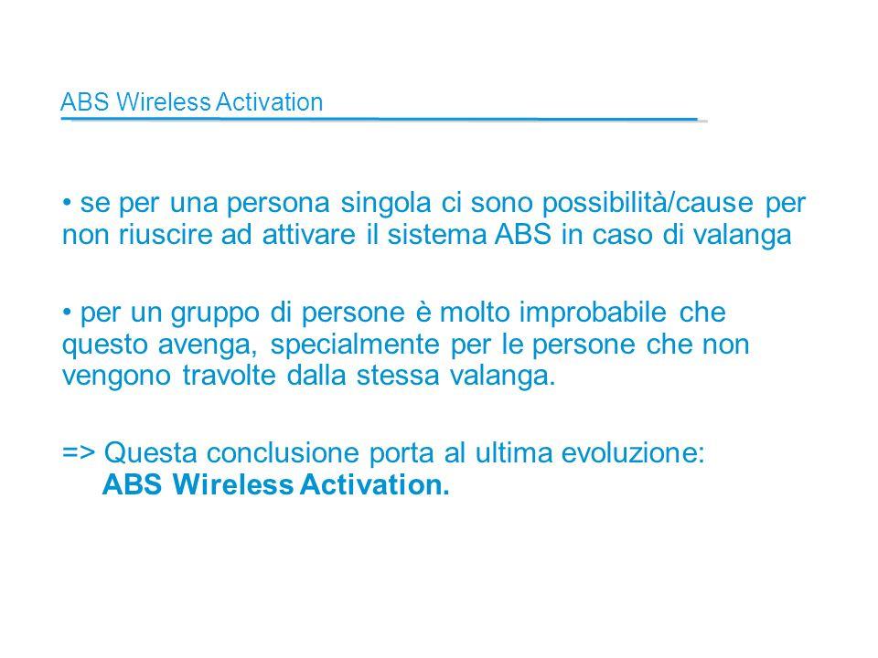 ABS Wireless Activation se per una persona singola ci sono possibilità/cause per non riuscire ad attivare il sistema ABS in caso di valanga per un gruppo di persone è molto improbabile che questo avenga, specialmente per le persone che non vengono travolte dalla stessa valanga.