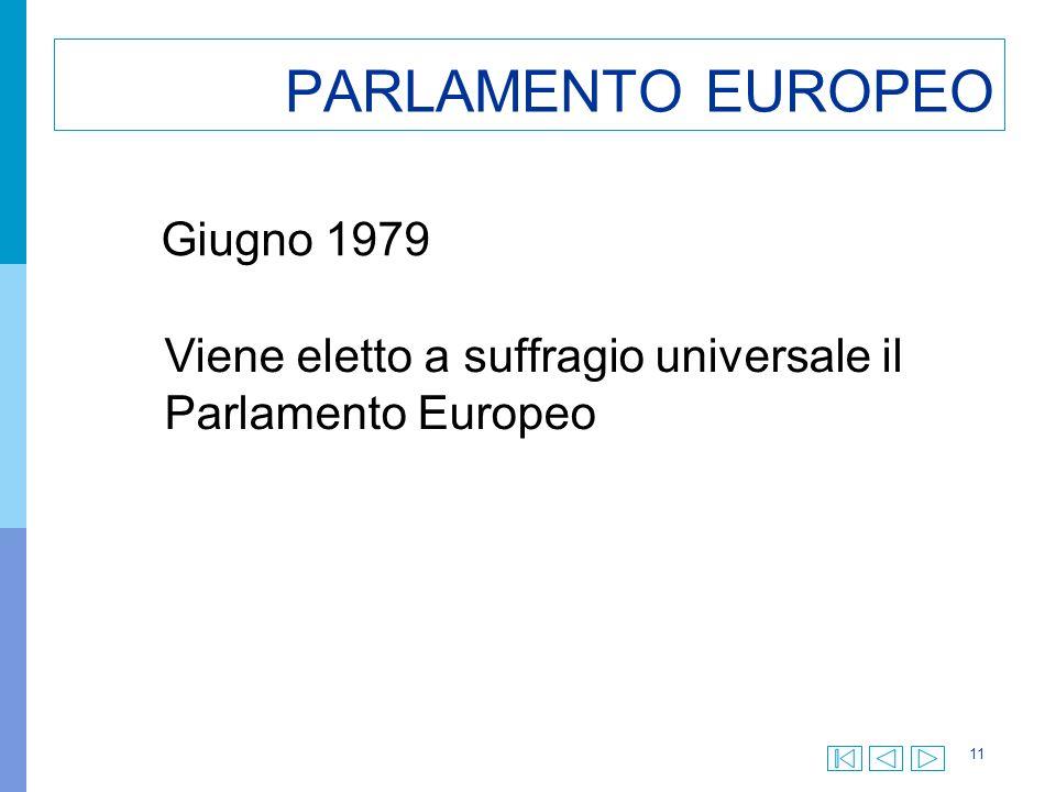 11 PARLAMENTO EUROPEO Giugno 1979 Viene eletto a suffragio universale il Parlamento Europeo