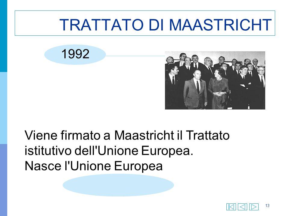 13 TRATTATO DI MAASTRICHT Viene firmato a Maastricht il Trattato istitutivo dell Unione Europea.