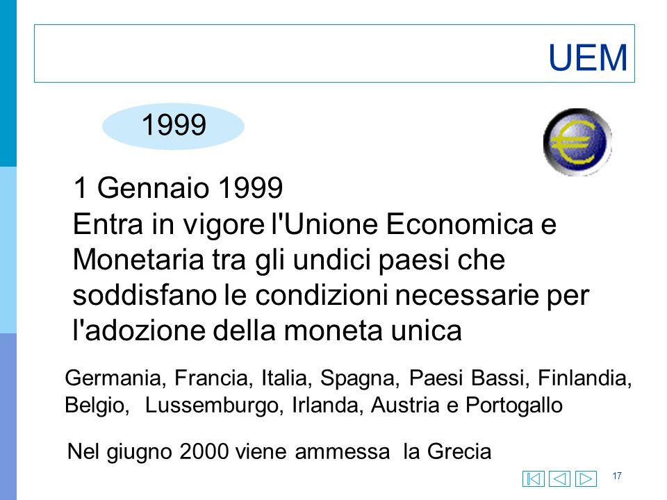 17 UEM 1999 1 Gennaio 1999 Entra in vigore l Unione Economica e Monetaria tra gli undici paesi che soddisfano le condizioni necessarie per l adozione della moneta unica Germania, Francia, Italia, Spagna, Paesi Bassi, Finlandia, Belgio, Lussemburgo, Irlanda, Austria e Portogallo Nel giugno 2000 viene ammessa la Grecia