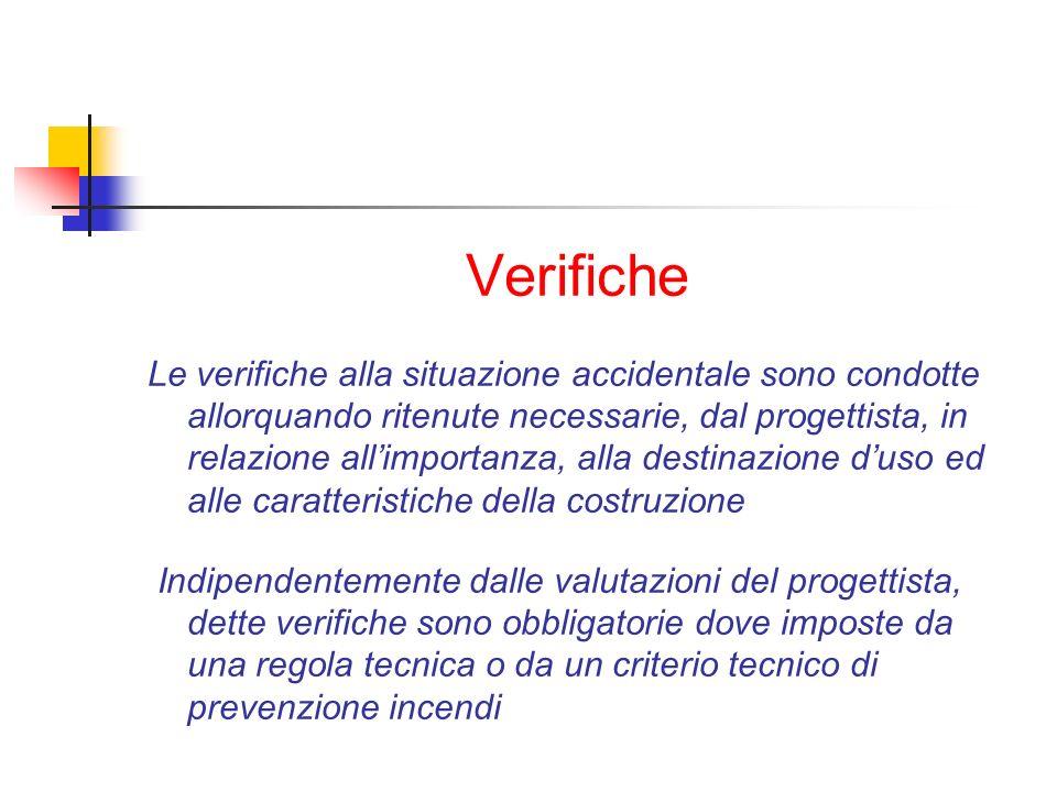 Verifiche Le verifiche alla situazione accidentale sono condotte allorquando ritenute necessarie, dal progettista, in relazione allimportanza, alla de