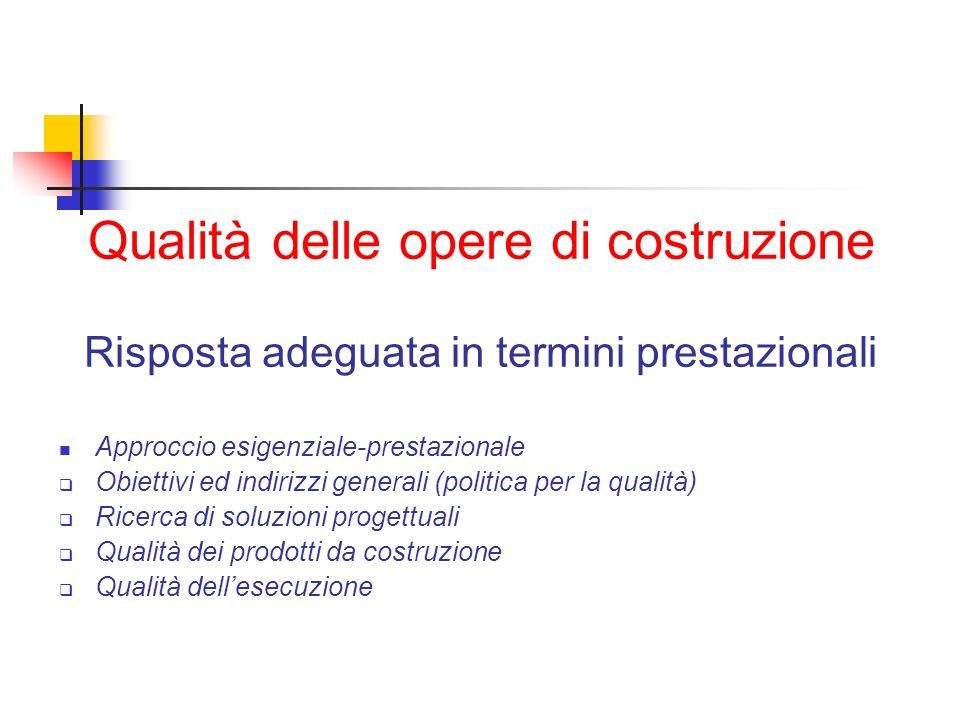 Qualità delle opere di costruzione Risposta adeguata in termini prestazionali Approccio esigenziale-prestazionale Obiettivi ed indirizzi generali (pol