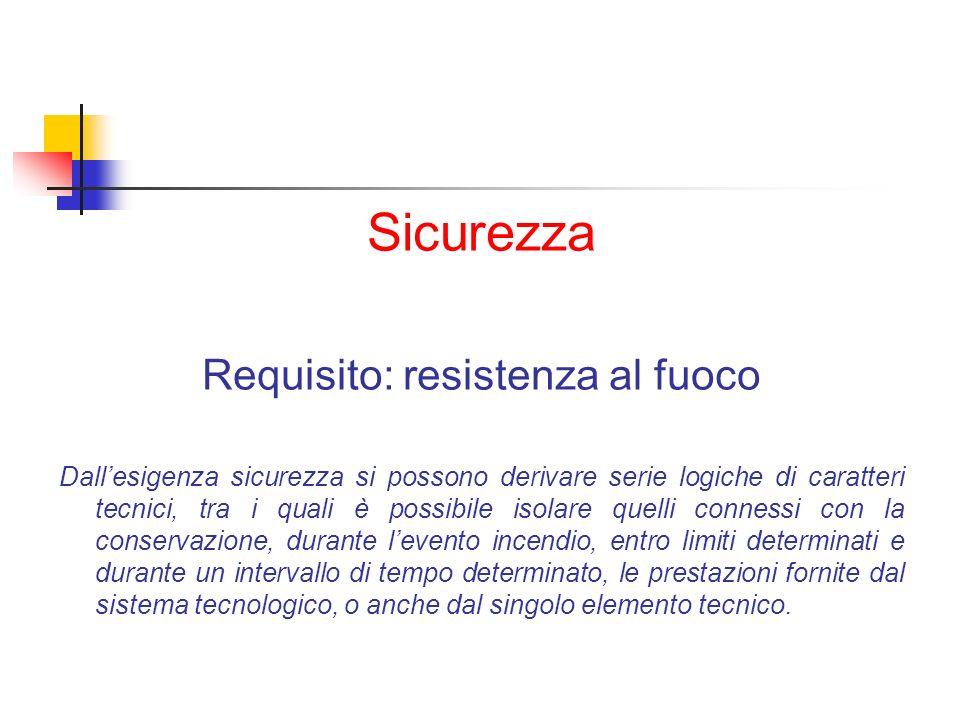 Sicurezza Requisito: resistenza al fuoco Dallesigenza sicurezza si possono derivare serie logiche di caratteri tecnici, tra i quali è possibile isolar
