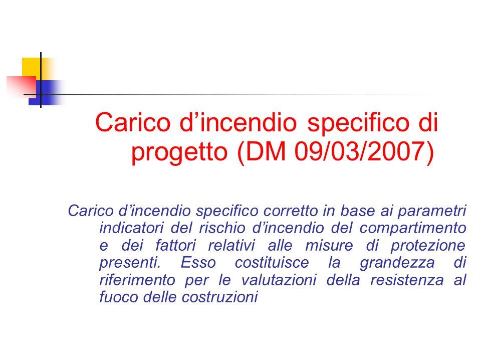 Carico dincendio specifico di progetto (DM 09/03/2007) Carico dincendio specifico corretto in base ai parametri indicatori del rischio dincendio del c