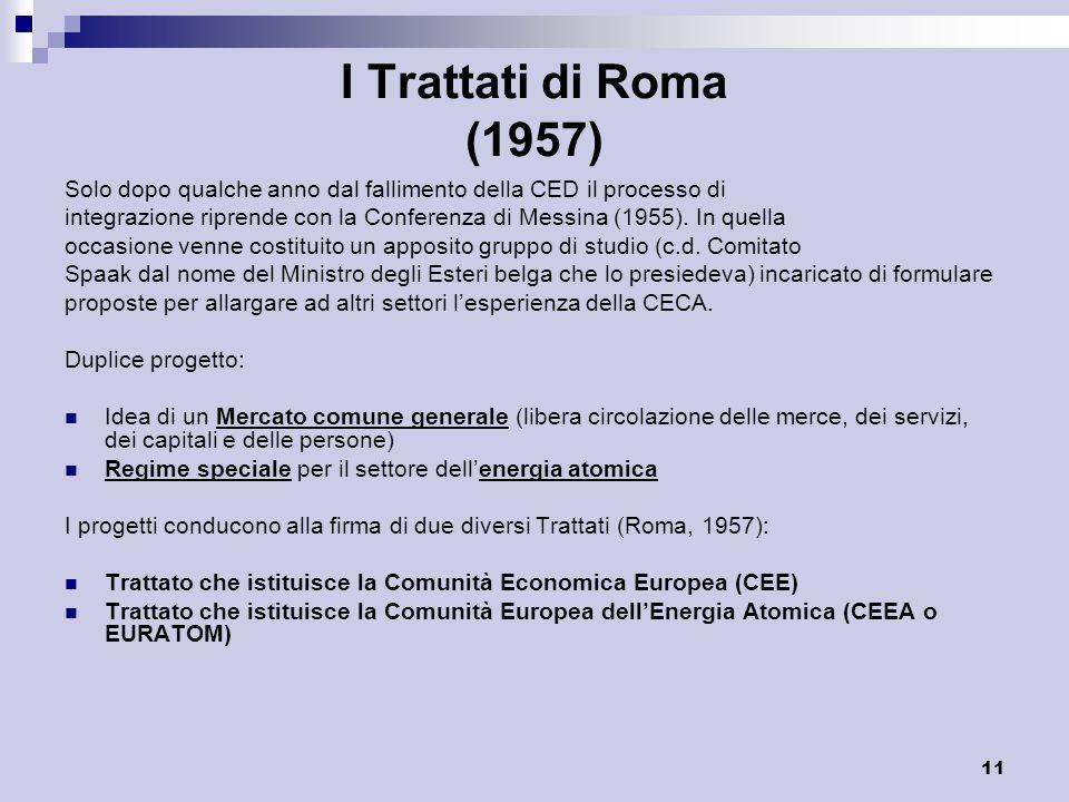 11 I Trattati di Roma (1957) Solo dopo qualche anno dal fallimento della CED il processo di integrazione riprende con la Conferenza di Messina (1955).