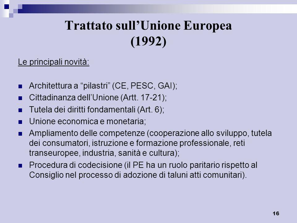 16 Trattato sullUnione Europea (1992) Le principali novità: Architettura a pilastri (CE, PESC, GAI); Cittadinanza dellUnione (Artt. 17-21); Tutela dei