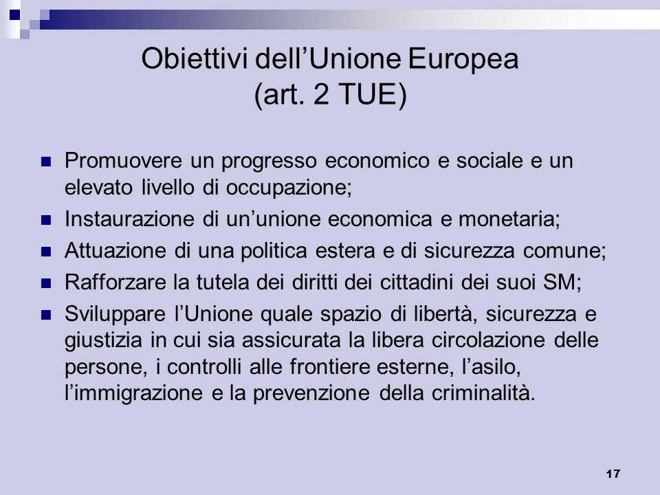 17 Obiettivi dellUnione Europea (art. 2 TUE) Promuovere un progresso economico e sociale e un elevato livello di occupazione; Instaurazione di ununion