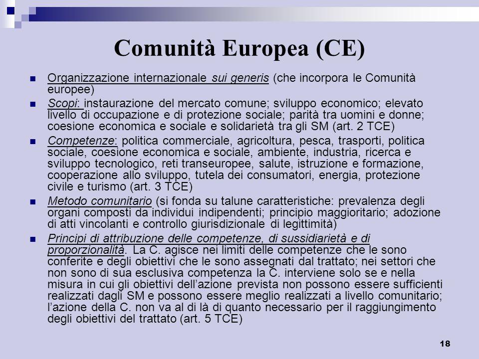 18 Comunità Europea (CE) Organizzazione internazionale sui generis (che incorpora le Comunità europee) Scopi: instaurazione del mercato comune; svilup