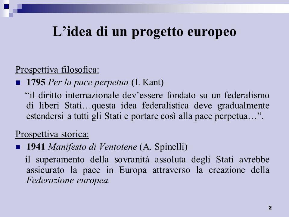 3 Lidea di un progetto europeo 1943 Jean Monnet non vi sarà pace in Europa, se gli Stati si ricostituiranno sulla base della sovranità nazionale…I paesi dEuropa sono troppo piccoli per garantire ai loro popoli la prosperità e levoluzione sociale indispensabili.