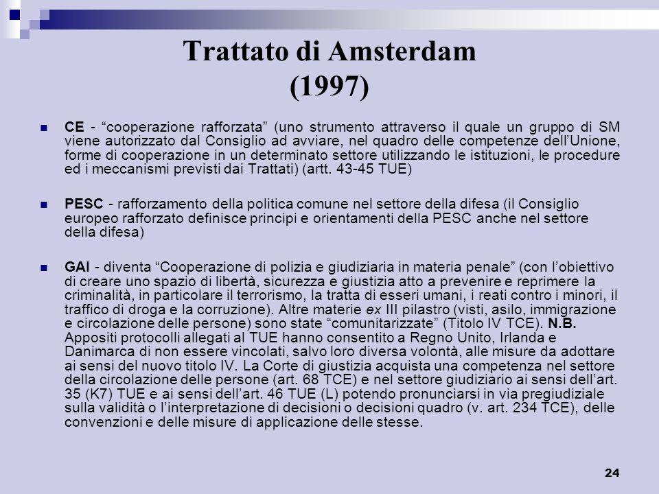 24 Trattato di Amsterdam (1997) CE - cooperazione rafforzata (uno strumento attraverso il quale un gruppo di SM viene autorizzato dal Consiglio ad avv