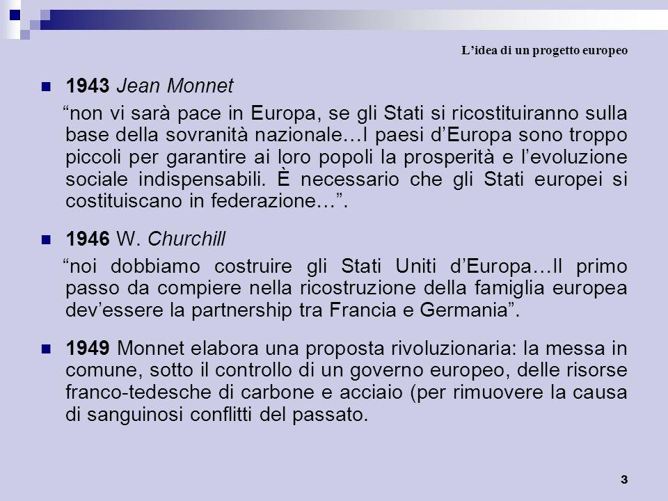 3 Lidea di un progetto europeo 1943 Jean Monnet non vi sarà pace in Europa, se gli Stati si ricostituiranno sulla base della sovranità nazionale…I pae