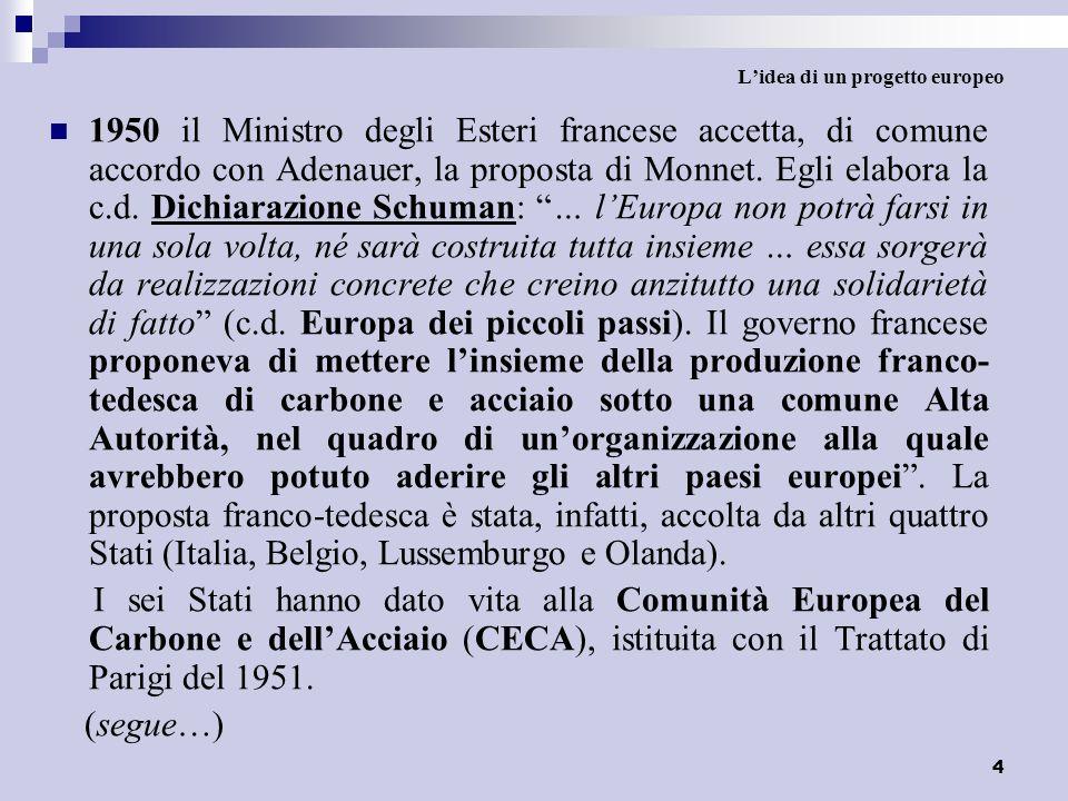 4 Lidea di un progetto europeo 1950 il Ministro degli Esteri francese accetta, di comune accordo con Adenauer, la proposta di Monnet. Egli elabora la
