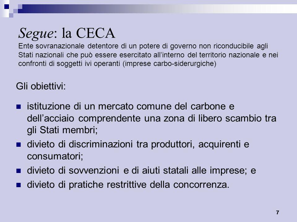8 Segue: la CECA Le istituzioni (1): Alta Autorità Organo composto da individui indipendenti dai governi degli SM con poteri deliberativi.