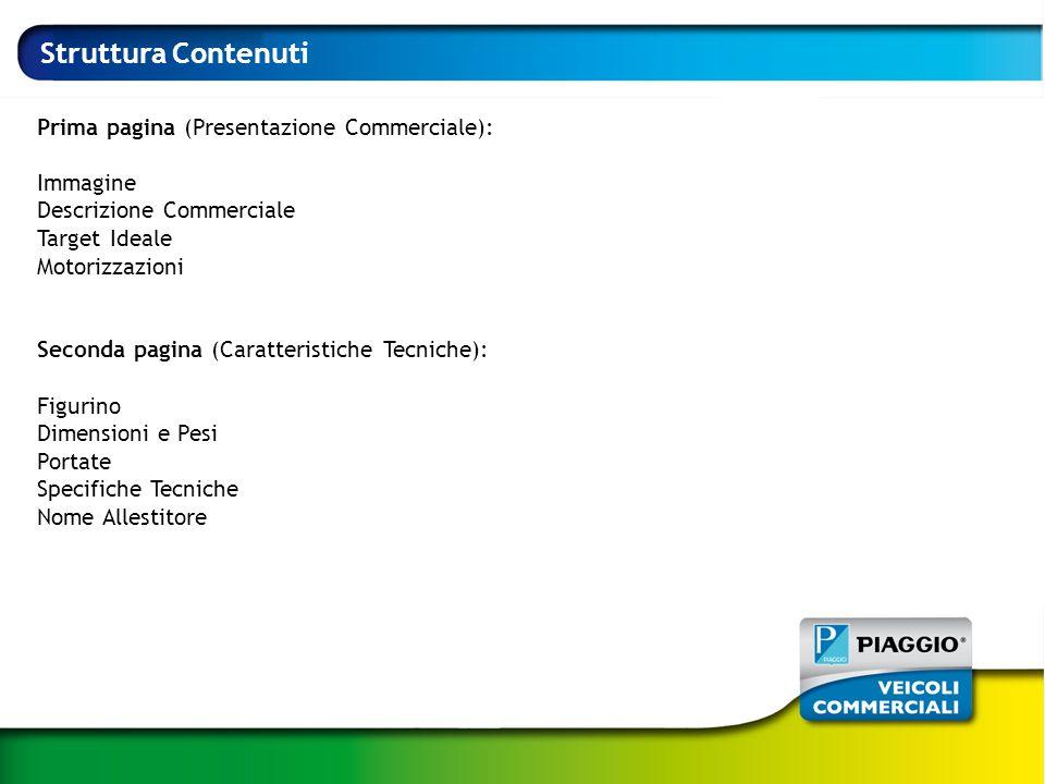 Struttura Contenuti Prima pagina (Presentazione Commerciale): Immagine Descrizione Commerciale Target Ideale Motorizzazioni Seconda pagina (Caratteris