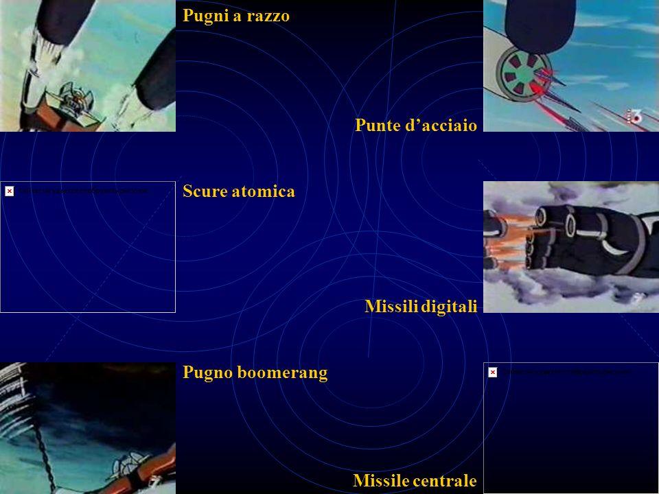 Pugni a razzo Scure atomica Pugno boomerang Punte dacciaio Missili digitali Missile centrale