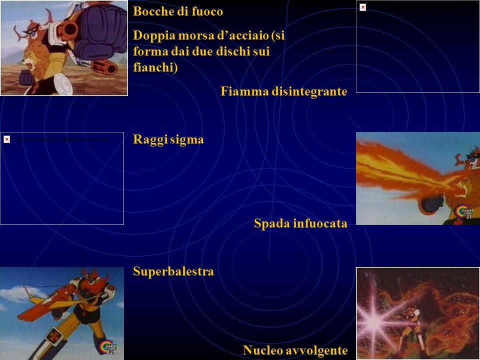 Bocche di fuoco Raggi sigma Superbalestra Fiamma disintegrante Spada infuocata Nucleo avvolgente Doppia morsa dacciaio (si forma dai due dischi sui fi