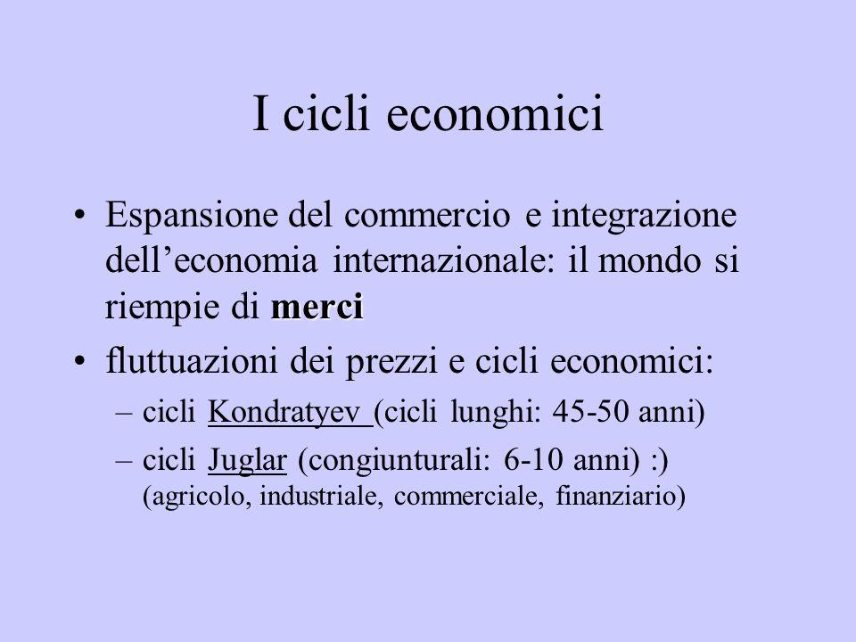I cicli economici merciEspansione del commercio e integrazione delleconomia internazionale: il mondo si riempie di merci fluttuazioni dei prezzi e cic