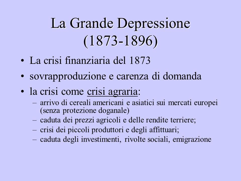 La Grande Depressione (1873-1896) La crisi finanziaria del 1873 sovrapproduzione e carenza di domanda la crisi come crisi agraria: –arrivo di cereali