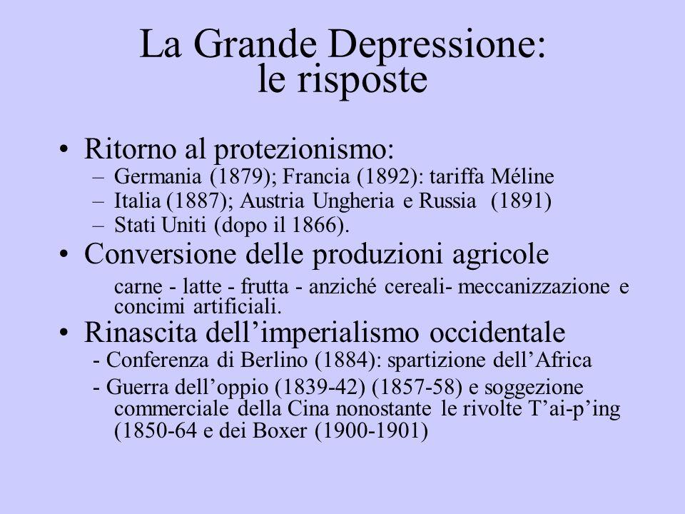 La Grande Depressione: le risposte Ritorno al protezionismo: –Germania (1879); Francia (1892): tariffa Méline –Italia (1887); Austria Ungheria e Russi