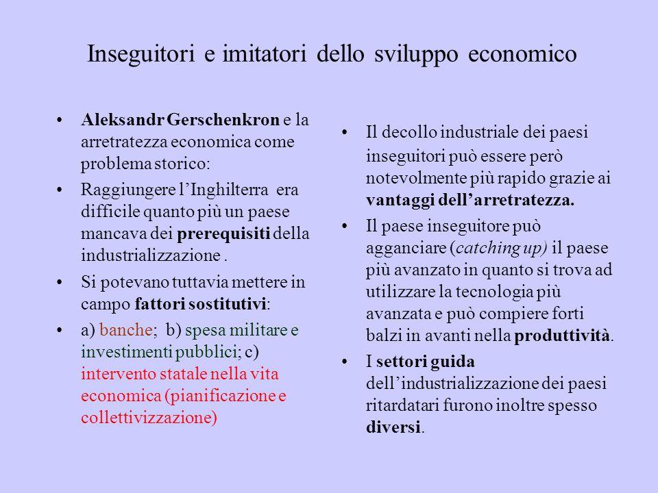 Inseguitori e imitatori dello sviluppo economico Aleksandr Gerschenkron e la arretratezza economica come problema storico: Raggiungere lInghilterra er