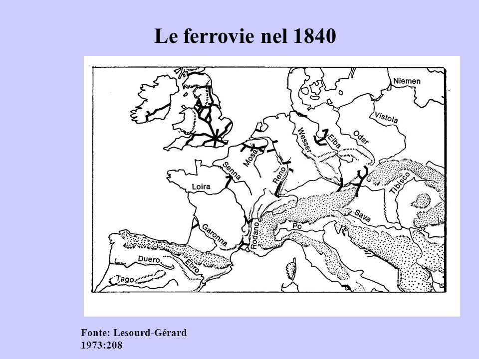Le ferrovie nel 1850 Fonte: Lesourd- Gérard 1973
