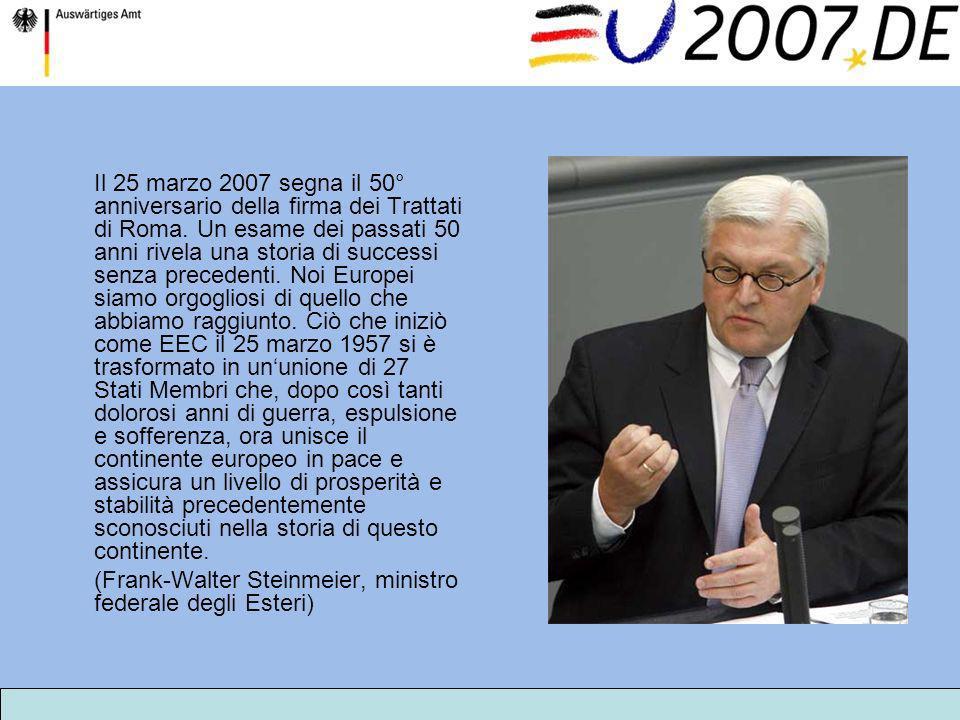 Il 25 marzo 2007 segna il 50° anniversario della firma dei Trattati di Roma. Un esame dei passati 50 anni rivela una storia di successi senza preceden