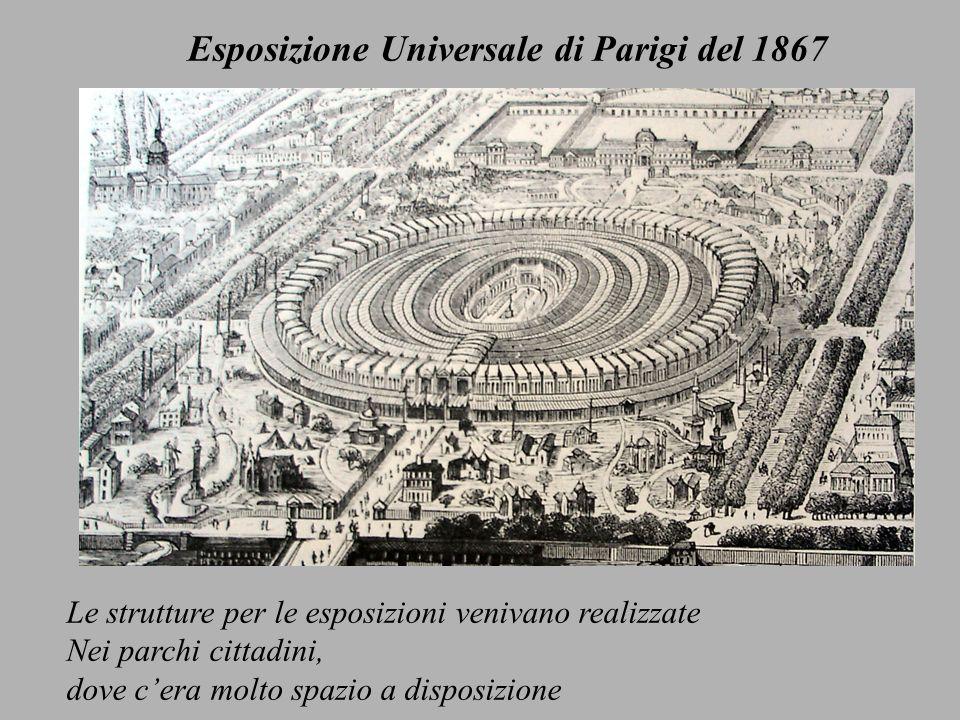 Le strutture per le esposizioni venivano realizzate Nei parchi cittadini, dove cera molto spazio a disposizione Esposizione Universale di Parigi del 1867
