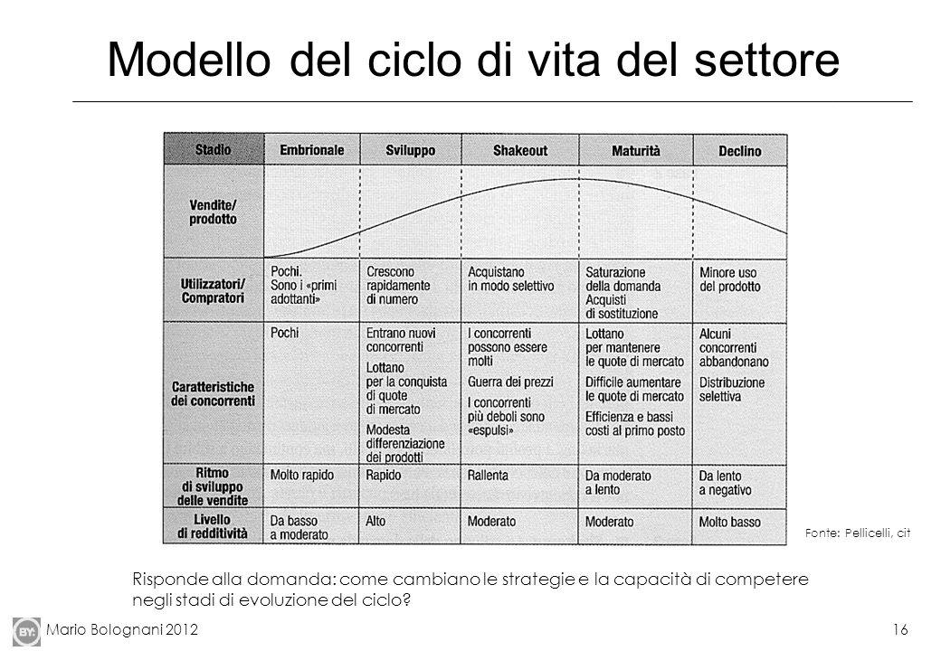 Mario Bolognani 201216 Modello del ciclo di vita del settore Fonte: Pellicelli, cit Risponde alla domanda: come cambiano le strategie e la capacità di competere negli stadi di evoluzione del ciclo?