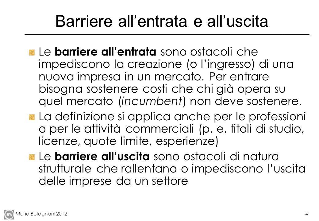 Mario Bolognani 20124 Barriere allentrata e alluscita Le barriere allentrata sono ostacoli che impediscono la creazione (o lingresso) di una nuova impresa in un mercato.