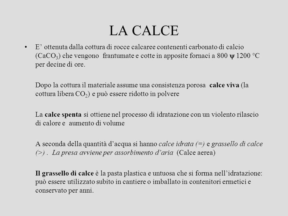 LA CALCE E ottenuta dalla cottura di rocce calcaree contenenti carbonato di calcio (CaCO 3 ) che vengono frantumate e cotte in apposite fornaci a 800