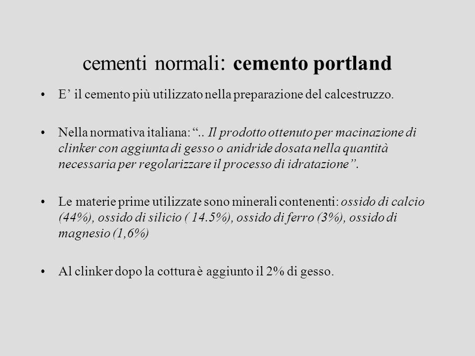 cementi normali : cemento portland E il cemento più utilizzato nella preparazione del calcestruzzo. Nella normativa italiana:.. Il prodotto ottenuto p