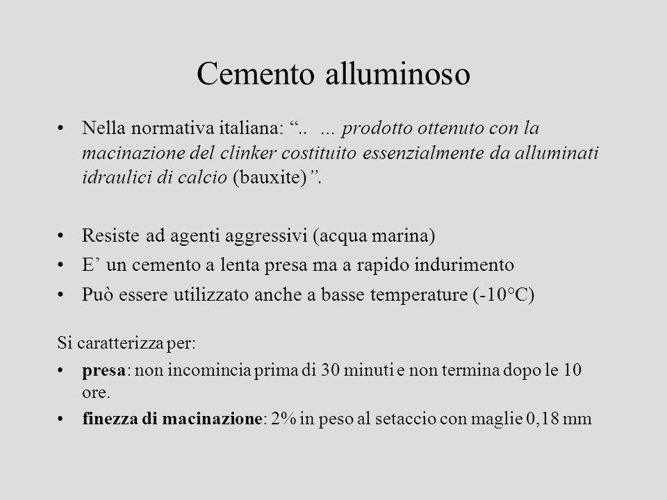Cemento alluminoso Nella normativa italiana:.. … prodotto ottenuto con la macinazione del clinker costituito essenzialmente da alluminati idraulici di