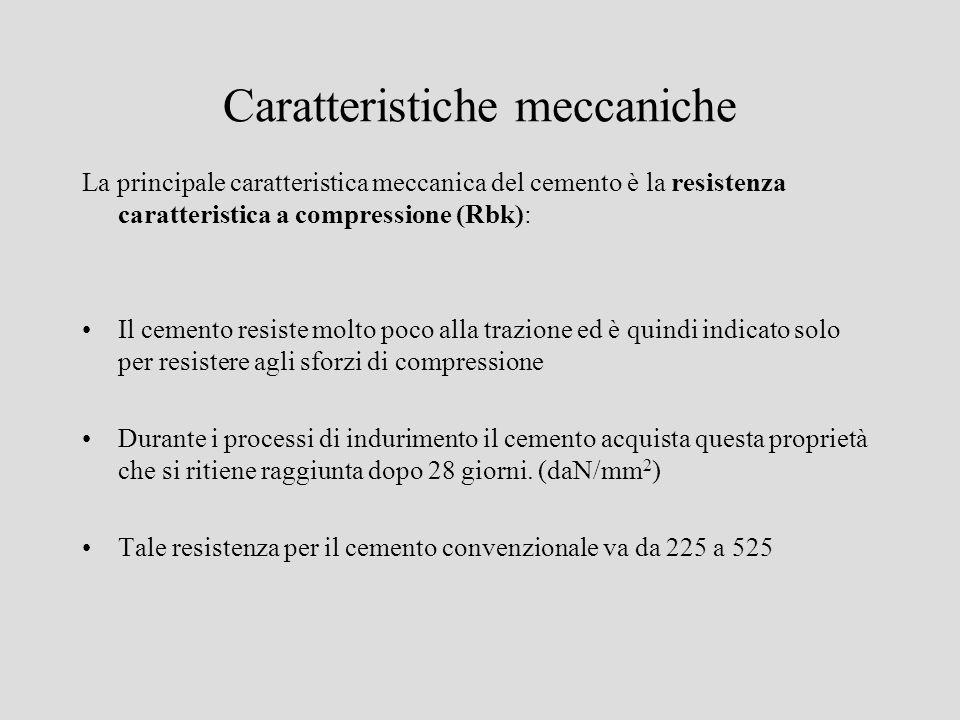 Caratteristiche meccaniche La principale caratteristica meccanica del cemento è la resistenza caratteristica a compressione (Rbk): Il cemento resiste