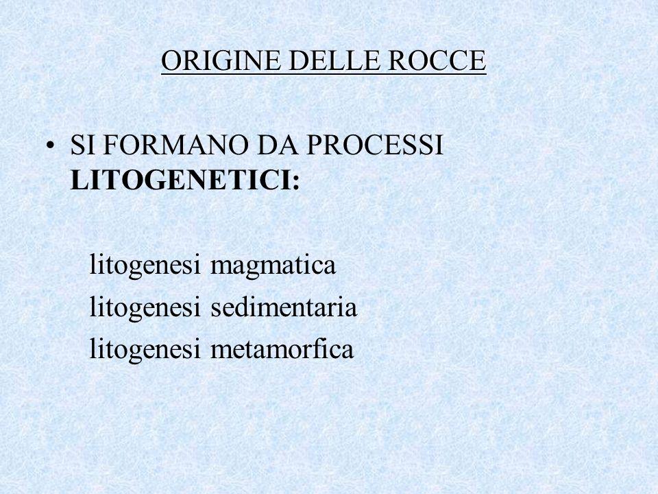 Litogenesi magmatica Presenza di MAGMA: massa fusa e incandescente che si trova in condizioni molto varie di PRESSIONE E TEMPERATURA nella crosta terrestre o nel mantello esterno Crosta terrestre: T = 800 ÷ 1000 °C (misurata alleruzione), densità ~ 2,4 g/cm 3 aspetto viscoso, composizione granitica in quanto cristallizza in profondità (rocce intrusive acide) Mantello esterno o astenosfera: T = 1050 ÷ 1300 °C (misurata alleruzione), densità ~ 2,9 g/cm 3, composizione basaltica, molto fluido, cristallizza in superficie (rocce effusive basiche)