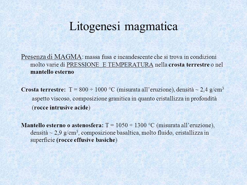 Litogenesi magmatica Presenza di MAGMA: massa fusa e incandescente che si trova in condizioni molto varie di PRESSIONE E TEMPERATURA nella crosta terr