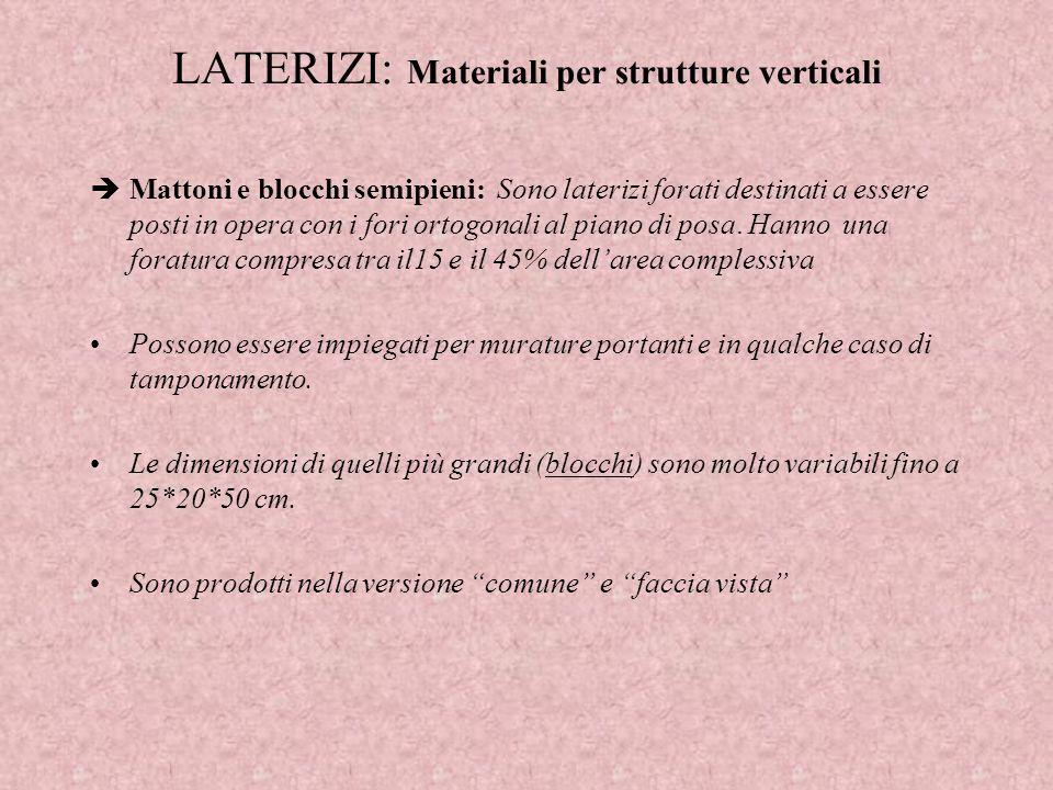 LATERIZI: Materiali per strutture verticali Mattoni e blocchi semipieni: Sono laterizi forati destinati a essere posti in opera con i fori ortogonali