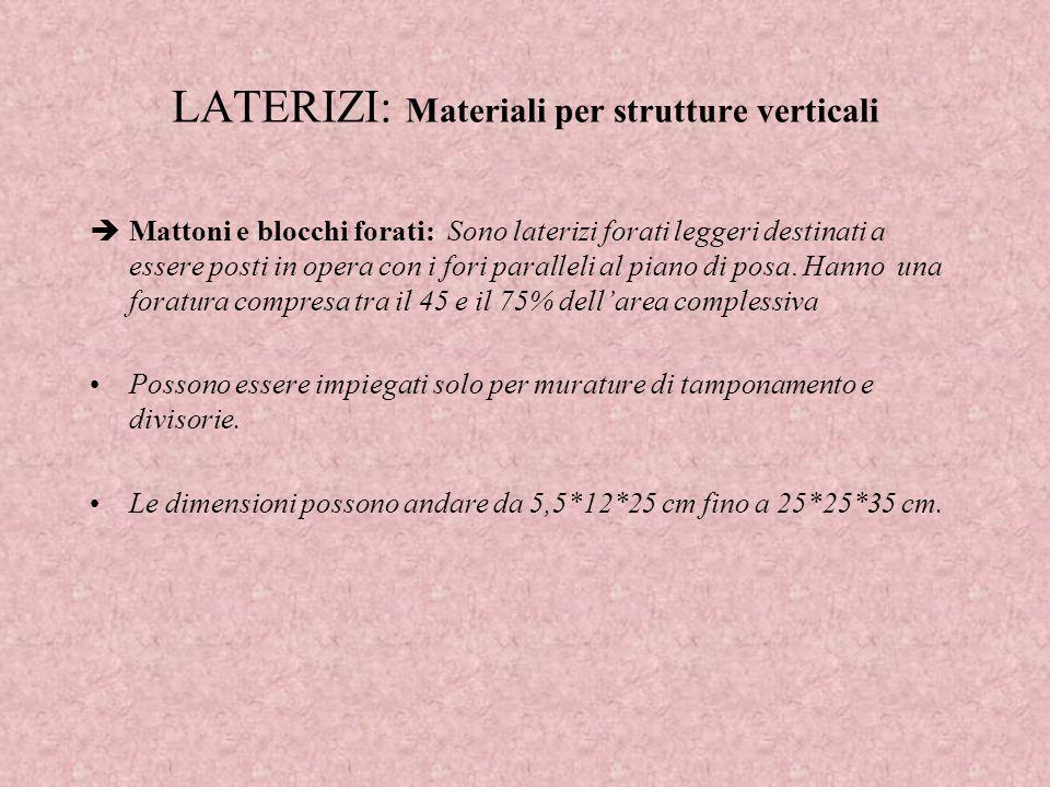 LATERIZI: Materiali per strutture verticali Mattoni e blocchi forati: Sono laterizi forati leggeri destinati a essere posti in opera con i fori parall