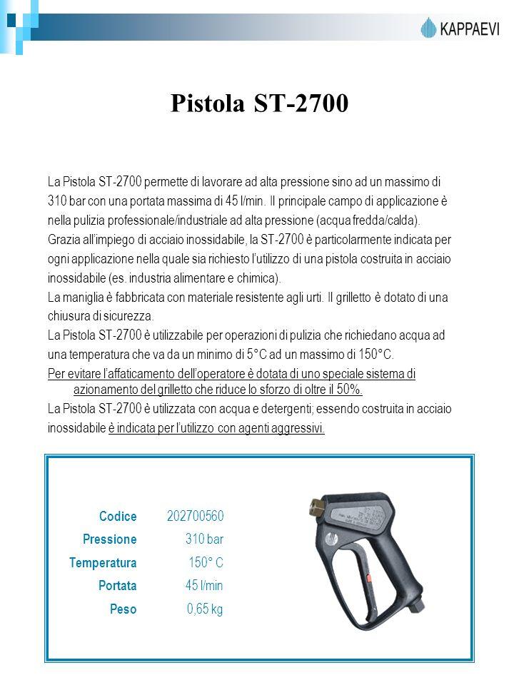 Pistola ST-2700 La Pistola ST-2700 permette di lavorare ad alta pressione sino ad un massimo di 310 bar con una portata massima di 45 l/min.