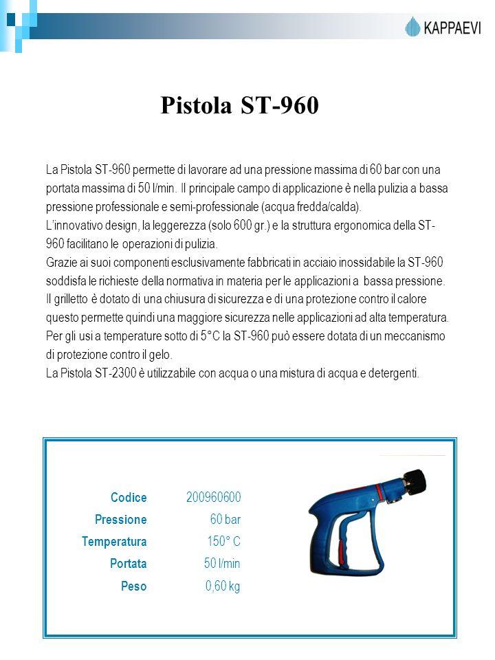 Pistola ST-960 La Pistola ST-960 permette di lavorare ad una pressione massima di 60 bar con una portata massima di 50 l/min. Il principale campo di a