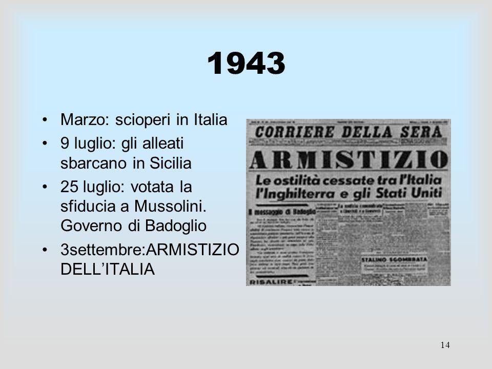 14 1943 Marzo: scioperi in Italia 9 luglio: gli alleati sbarcano in Sicilia 25 luglio: votata la sfiducia a Mussolini. Governo di Badoglio 3settembre: