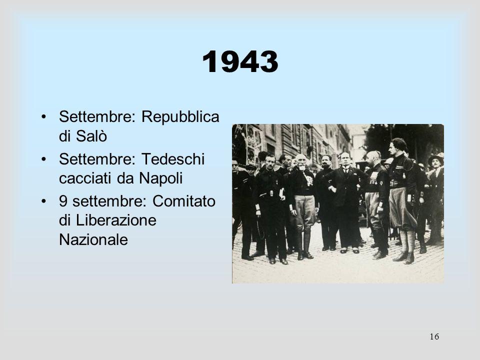 16 1943 Settembre: Repubblica di Salò Settembre: Tedeschi cacciati da Napoli 9 settembre: Comitato di Liberazione Nazionale