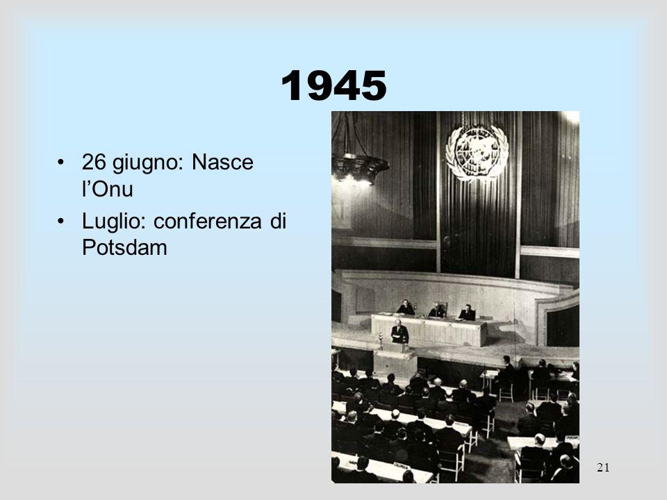 21 1945 26 giugno: Nasce lOnu Luglio: conferenza di Potsdam