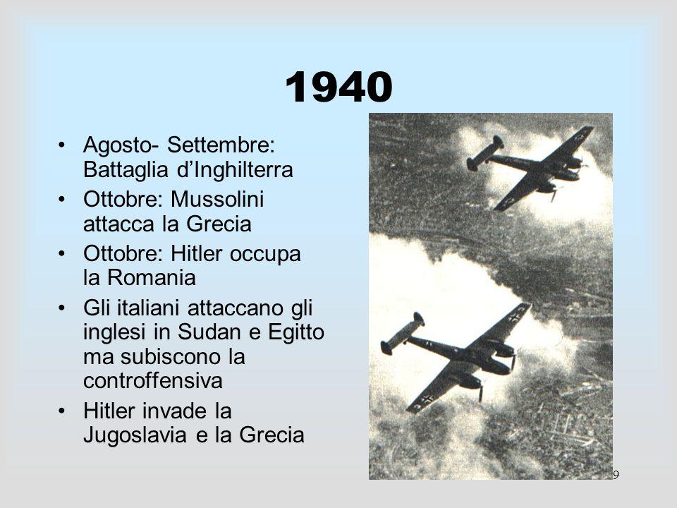 9 1940 Agosto- Settembre: Battaglia dInghilterra Ottobre: Mussolini attacca la Grecia Ottobre: Hitler occupa la Romania Gli italiani attaccano gli ing