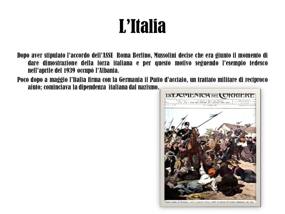 LItalia Dopo aver stipulato laccordo dellASSE Roma Berlino, Mussolini decise che era giunto il momento di dare dimostrazione della forza italiana e pe