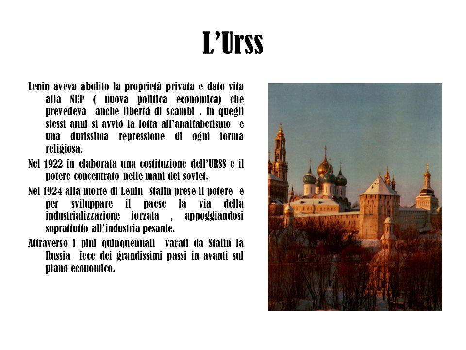 LUrss Lenin aveva abolito la proprietà privata e dato vita alla NEP ( nuova politica economica) che prevedeva anche libertà di scambi. In quegli stess