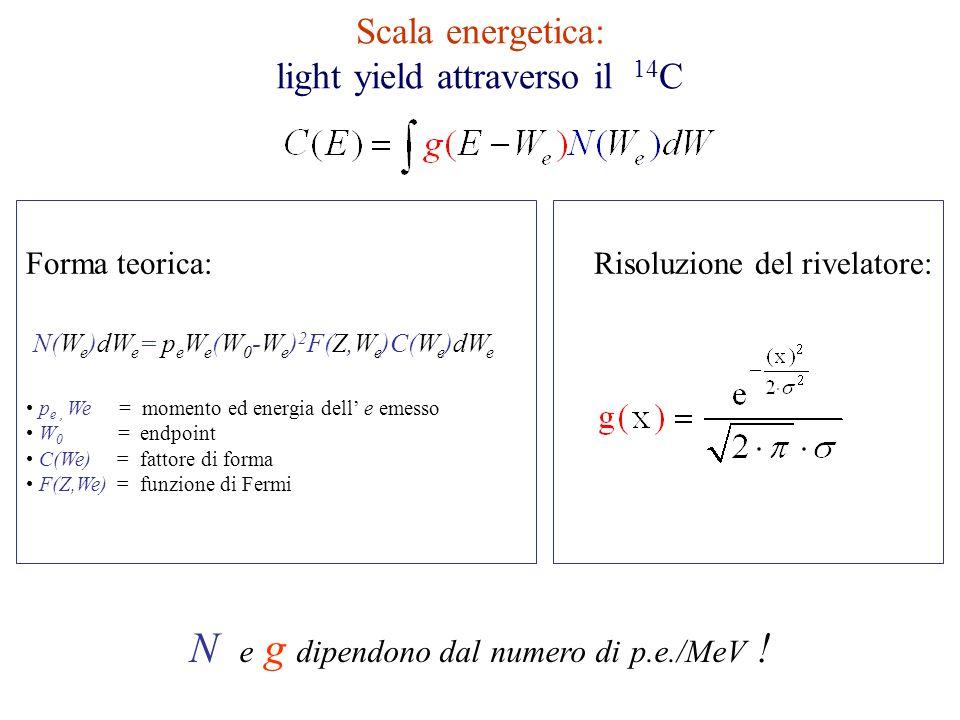 Scala energetica: light yield attraverso il 14 C N(W e )dW e = p e W e (W 0 -W e ) 2 F(Z,W e )C(W e )dW e p e, We = momento ed energia dell e emesso W