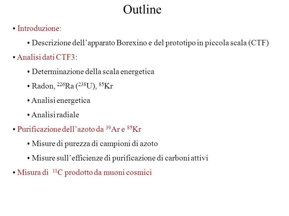 Outline Introduzione: Descrizione dellapparato Borexino e del prototipo in piccola scala (CTF) Analisi dati CTF3: Determinazione della scala energetic