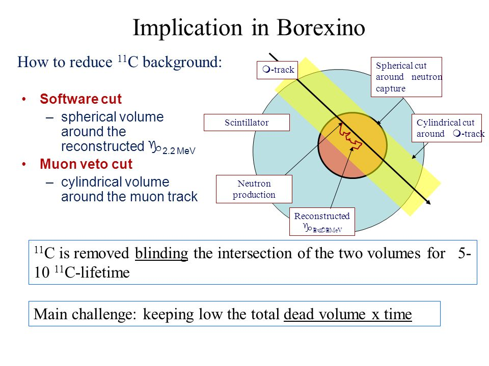 Implication in Borexino Software cut –spherical volume around the reconstructed 2.2 MeV Muon veto cut –cylindrical volume around the muon track How to