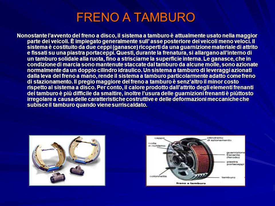 FRENO A TAMBURO Nonostante lavvento del freno a disco, il sistema a tamburo è attualmente usato nella maggior parte dei veicoli. È impiegato generalme